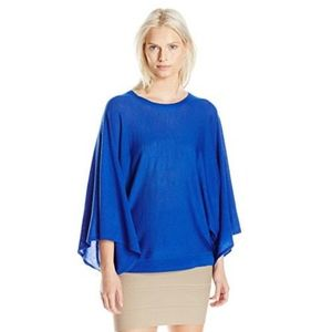 BCBG MAXAZRIA XS Shania Draped Sweater Poncho Blue